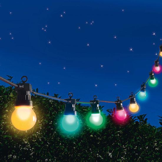 location guirlande guinguette led 10m 20 lampes led multicolores. Black Bedroom Furniture Sets. Home Design Ideas