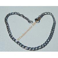 Bracelet Maille 3 mm Figaro 3+1 Pur Acier Chirurgical Inoxydable Argenté 20 cm