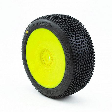 Pneus HOT DICE v2 C2 (Soft) collés - Jante jaune (2)