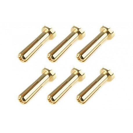 Connecteurs 4mm or mâle low profile Corally 6pcs