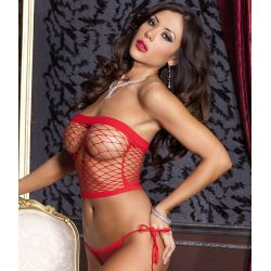 Bustier Filet Rouge et String