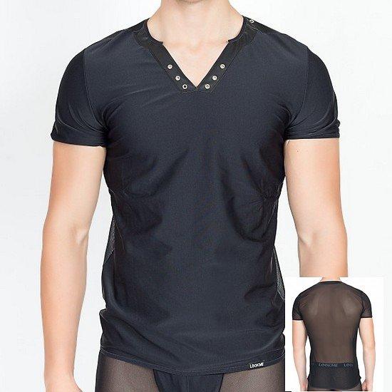 TShirt Noir col en V