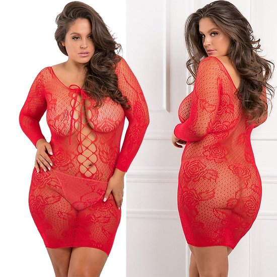 Tunique Transparente Rouge Grande Taille
