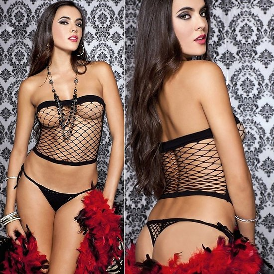 Bustier Filet Noir et String