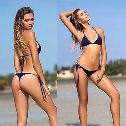 Bikini String à Nouer Bleu Foncé