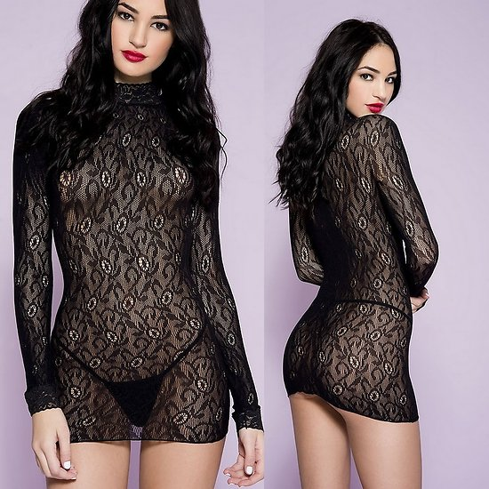 Robe Lingerie Manches Longues