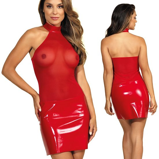 Robe Rouge Haut Transparent