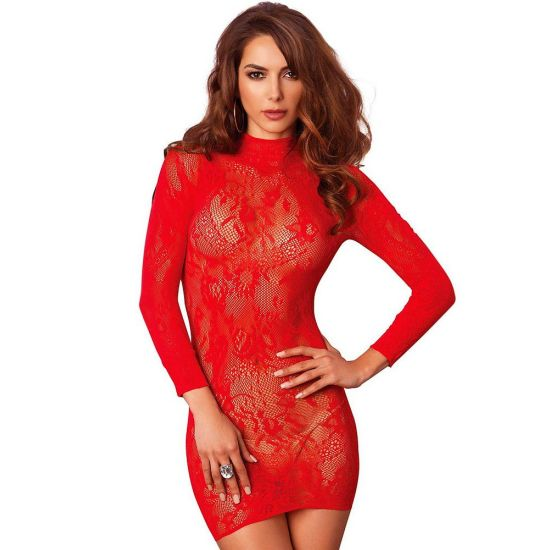 Robe Lingerie Rouge Manches Longues
