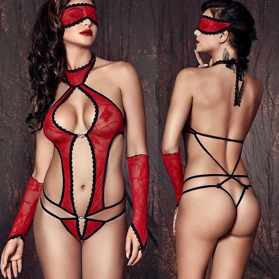 Body Erotique avec Bandeau et Mitaines