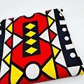 Coupon de tissu - Wax - Graphiques - Rouge / Jaune / Blanc