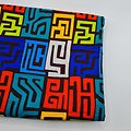 Coupon de tissu - Wax - Graphiques - Orange / Bleu / Jaune