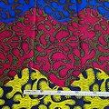 Coupon de tissu - Wax - Graphiques - Bleu / Rouge / Jaune