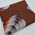 Coupon de tissu - Wax - Plumes - Orange / Marron / Blanc