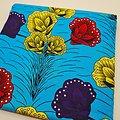 Coupon de tissu - Wax - Fleurs - Bleu / Jaune / Rouge