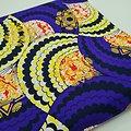 Coupon de tissu - Wax - Graphiques - Pailleté - Violet / Jaune / Orange