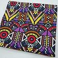Coupon de tissu - Wax - Graphiques - Violet / Jaune / Rouge