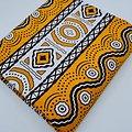 Coupon de tissu - Wax - Graphiques - Orange / Noir / Blanc