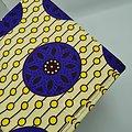 Coupon de tissu - Wax - Rosaces - Bleu / Orange / Jaune
