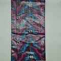 Coupon de tissu - Wax 100% coton - Bouches - Rose / Bleu / Marron - Brillant Argenté