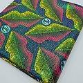 Coupon de tissu - Wax 100% coton - Bouches - Jaune / Rouge / Bleu - Brillant vert
