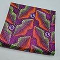 Coupon de tissu - Wax 100% coton - Bouches - Vert / Orange / Bleu - Brillant Rose