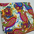 Coupon de tissu - Wax 100% coton - Graphiques - Blanc / Rose / Bleu