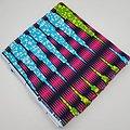 Pagne - Wax 100% coton - Graphiques - Rose / Vert / Bleu