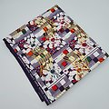 Coupon de tissu - Wax 100% coton - Graphiques - Violet / Vert / Blanc