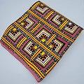 Coupon de tissu - Wax 100% coton - Graphiques - Rose / Rouge / Orange