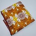 Couponde tissu - Wax 100% coton - Graphiques - Marron / Blanc / Jaune