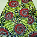 Coupon de tissu - Wax 100% coton - Graphiques - Vert / Rose / Bleu - Brillant Bleu