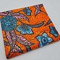 Coupon de tissu - Wax 100% coton - Fleurs - Orange / Bleu / Rose - Brillant Doré