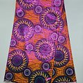 Coupon de tissu - Wax 100% coton - Graphiques - Orange / Ocre / Bleu - Brillant Rose