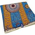 Coupon de tissu - Wax 100% coton - Graphiques - Bleu /  Orange / Marron