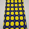 Coupon de tissu - Wax - Ronds - Bleu - Jaune