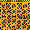 Coupon de tissu - Wax 100% coton - Graphiques - Orange / Bleu / Rouge