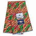 Coupon de tissu - Wax - Graphiques - Orange / Vert / Rouge