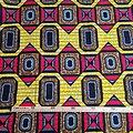 Coupon de tissu - Wax - Graphiques - Jaune / Rouge / Bleu
