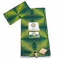 Coupon de tissu - Wax - Graphiques - Vert / Jaune