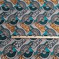 Coupon de tissu - Wax - Graphiques - Turquoise / Ocre / Noir