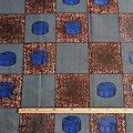 Coupon de tissu - Wax - Graphiques - Bleu / Marron / Noir