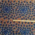 Copon de tissu - Wax - Paon - Bleu / Marron / Noir