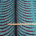Coupon de tissu - Wax - Ronds - Turquoise / Rouge / Noir