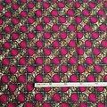 Coupon de tissu - Wax - Graphiques - Rose / Ocre / Noir