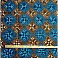 Coupon de tissu - Wax - Graphiques - Marron / Bleu / Noir