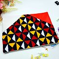 Pagne - Wax - Triangles - Rouge / Jaune / Noir