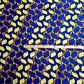 Pagne - Wax 100% coton - Graphiques - Bleu / Jaune / Ocre