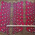 Coupon de tissu - Wax 100% coton - Paon - Rouge / Ocre / Bleu