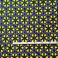 Coupon de tissu - Wax 100% coton - Diamant - Jaune / Vert / Bordeaux