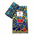 Coupon de tissu - Wax 100% coton - Corail - Jaune / Bleu / Vert